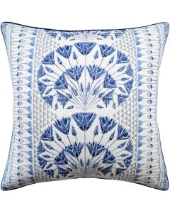 Cairo Square Decorative Pillow in Navy Blue and White – Available in Two Sizes