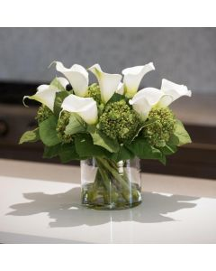 Calla Lily & Hydrangea With Green Buds in Clear Cylinder Vase