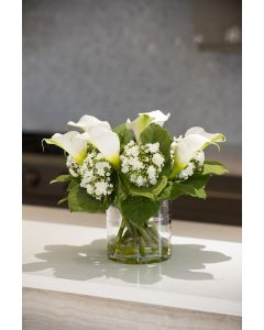 BARGAIN BASEMENT ITEM: Calla Lily & Hydrangea White Buds Arrangement in Clear Cylinder Vase - IN STOCK IN GREENWICH, CT FOR QUICK SHIPPING