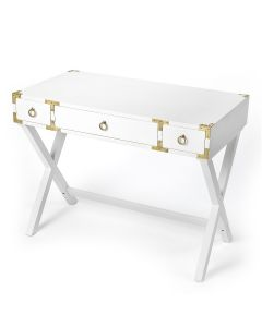 Campaign Style Glossy White Writing Desk with Gold Hardware