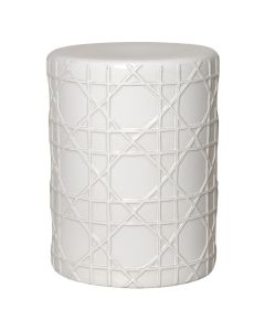 Cane Ceramic Stool in White