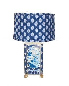 Canton in Blue Lamp with Blue Bellamy Shade