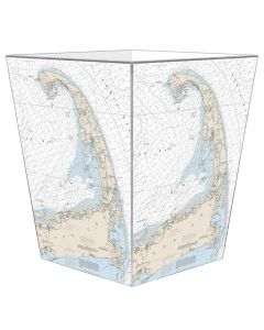Cape Cod Nautical Chart Decoupage Wastebasket and Optional Tissue Box Cover