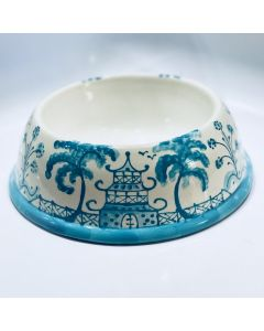 Caribbean Blue Chinoiserie Dog Bowl - Can be Personalized