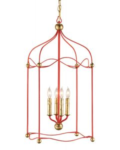 Carousel 4 Light Lantern in Lollipop Red and Gold Leaf