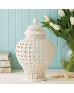 Carthage Medium Pierced White Porcelain Covered Lantern - ON BACKORDER UNTIL SEPTEMBER 2020