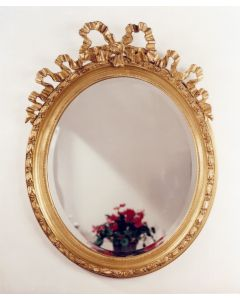 Carver's Guild French Oval Bow Wall Mirror in Antique Gold Leaf