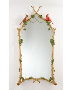 Carver's Guild Hand Painted Twig & Ivy With Cardinals Wall Mirror