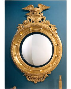 Carvers Guild Nautical Rondel Wall Mirror With Dolphins, Eagle, and Balls