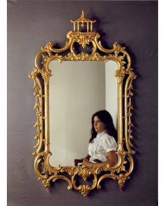 Carver's Guild Pagoda Chippendale Wall Mirror in Antique Gold Leaf