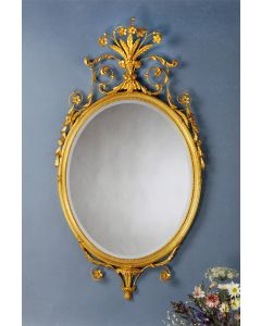 Carvers' Guild Crowned Oval Mirror in Antique Gold Leaf Finish