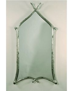 Carvers Guild Gothic Twig Mirror in Sterling Silver Leaf