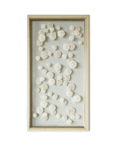 Coastal Cascading Sand Dollars Nautical Beach Wall Art in Ivory & Gold Frame with 3D Effect