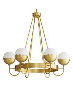 Celerie Kemble Collection by Arteriors Six Light Antique Brass Cleo Chandelier with Scallop Design