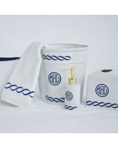 Chain Monogrammed Wastebaskets with Optional Soap Pump & Tissue Box