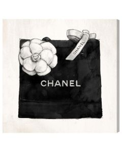 Chanel Shopping Bag With White Camellia Canvas Print Fashion Wall Art - Variety of Sizes Available