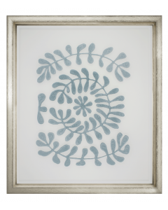 Floating Blue Velvet Fabric Vines Framed Wall Art I