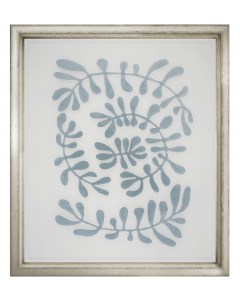 Floating Blue Velvet Fabric Vines Framed Wall Art III