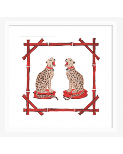 Cheetahs in Red Bamboo Art Print