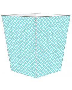 Chelsea Aqua Decoupage Wastebasket with Optional Tissue Box