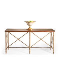 Cherry Veneer Overland Console Table With Gold Metal Base - ON BACKORDER UNTIL JANUARY 2020