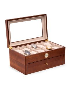 Cherry Wood 20 Watch Box with Glass Top and Clock, Velour Lined