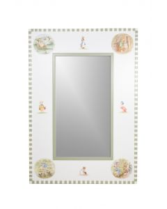 Child's Classic Enchanted Forest Mirror in Antico White and Green
