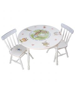 Child's Hand Painted Alice in Wonderland Play Table and Chairs
