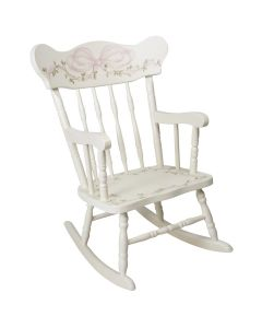 Child's Hand Painted Rocking Chair With Ribbons and Roses