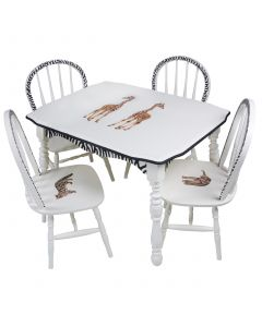 Child's Hand Painted Safari Play Table and Chairs Set