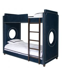 Child's Navy Gramercy Porthole Bunk Bed With Nailhead Trim