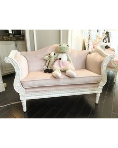 Child's Petite French Sofa in Antico White and Powder Pink