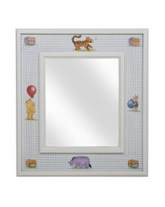 Child's Winnie the Pooh Mirror in Antico White and Blue Gingham