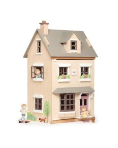 Beige Wooden Town Style Doll House With Starter Furniture Set for Kids
