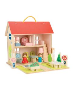 Furnished 2 Story Wooden Travel Dollhouse Set With Dolls for Kids - ON BACKORDER UNTIL JANUARY 2021