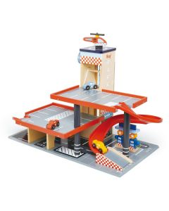 Garage & Service Station Transportation Wooden Playset With Helicopter and Cars for Kids