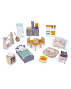 Country Style Wooden Starter Furniture Set for Dollhouses