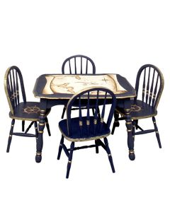 Children's Hand Painted Antique Nautical Map Play Table and Chairs Set