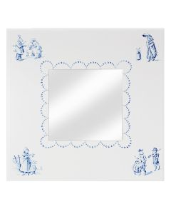 Children's Hand Painted Bunny Business Mirror in Blue and White