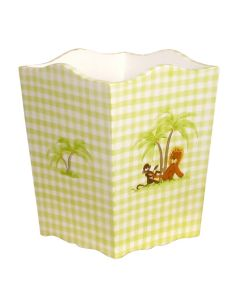 Children's Hand Painted Green Gingham Wastebasket With Safari Motif