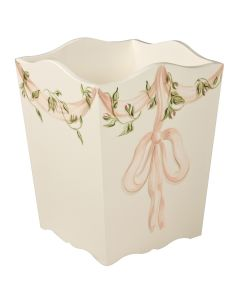 Children's Hand Painted Ribbons and Roses Scalloped Wastebasket