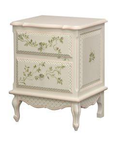 Children's Hand Painted Two Drawer Floral Vines Nightstand