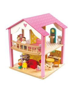 Children's Open Concept Pink Wooden Starter Dollhouse With Doll Family and Swivel Base