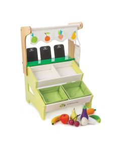 Pretend Play Farmer's Market Wooden Grocery Toy for Kids