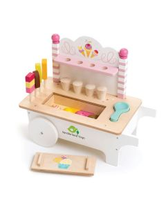Pink and White Wooden Ice Cream Cart With Accessories for Kids