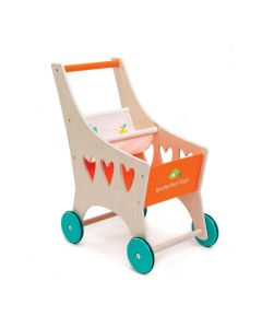 Wooden Grocery Shopping Cart Toy With Baby Seat for Dolls - ON BACKORDER