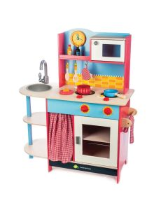 Retro Interactive Red and Blue Wooden Play Kitchen for Kids