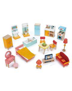 Children's Townhouse Style Wooden Starter Furniture Set for Dollhouses