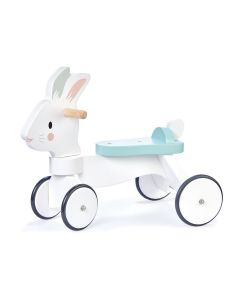 White Bunny Wooden Ride On Toy for Kids