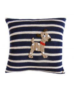 Children's Handmade Dog Pillow with Navy & White Stripes